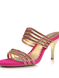 Elegant Leather Stiletto Heel Sandals With Rhinestone Party/Evening Shoes(More Colors)