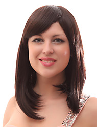 Capless 20% Human Hair Medium Straight Brown Hair Wigs