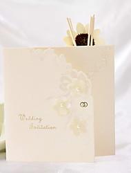 Elegant Floral Embossed Tri-fold Wedding Invitation (Set of 50)