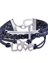 Handmade trançado Alloy Cruz do símbolo da infinidade Charm Bracelet Amor