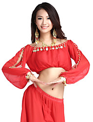 Belly Dance Tops Women's Training Chiffon Coins 1 Piece As Picture Belly Dance / Performance Long Sleeve Top