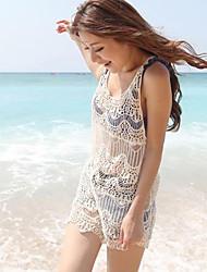 Women's Mini Dress , Cotton White Casual/Lace