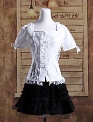 manga corta blusa blanca falda corta de algodón traje de lolita clásico negro