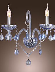 Artisitc Wall Light with 2 Lights Candle Style Water Blue Crystal