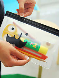 Multi-usage Moustache motif transparent lock sacs