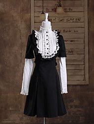 Long Sleeve Knee-length Black and White Cotton School Lolita Dress