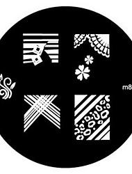 4PCS Nail Art Stamping Timbro Immagine Template Piastra M Series N.3