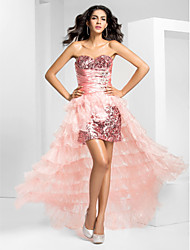 Prom / Formal Evening Dress - Plus Size / Petite A-line Strapless Asymmetrical Organza / Sequined