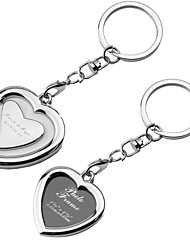 Personalized Heart Shaped Cadre photo Key Ring (Set of 6)