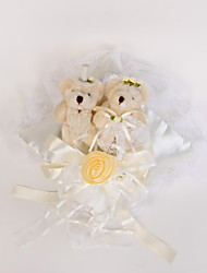 Wedding Ring Pillow In Ivory Satin With Lovely Bear And Laces
