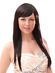 Capless 20% Human Hair Long Straight Brown Hair Wigs