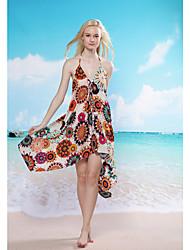 Cheerful Floral Beach Cover-up(Hip:90-104cm  Length:105cm)