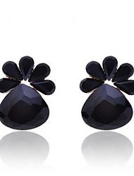Fashion Black Diamond Ours Pieds Boucles d'oreilles
