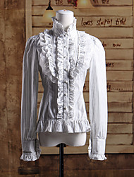 Stand Collar Long Sleeves White Ruffles Cotton Classic Lolita Blouse