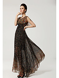 Women's Dress , Chiffon Black Print