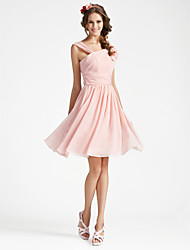 Homecoming Bridesmaid Dress Knee Length Chiffon A Line V Neck Sleeveless Dress