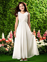 Lanting Bride® Ankle-length Chiffon Junior Bridesmaid Dress Sheath / Column V-neck Empire with Draping / Criss Cross