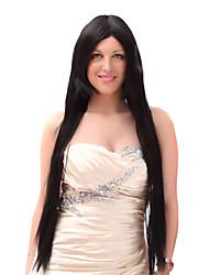 Capless 20% Human Hair Longs Raides Noir Perruques