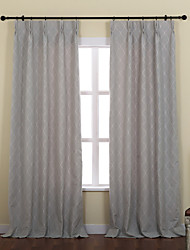 (Two Panels) Mediterranean Jacquard Plaid  Curtain