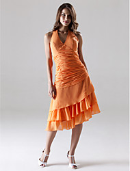 Knee-length / Asymmetrical Chiffon Bridesmaid Dress - Orange Plus Sizes / Petite A-line Halter / V-neck