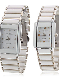 Pair of Alloy Analog Quartz Couple's Wrist Watch (White) Cool Watches Unique Watches
