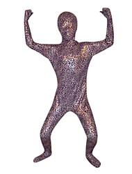 Bambino Viola e Pardo d'argento metallico lucido Full Body Zentai