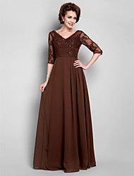 A-line Plus Sizes Mother of the Bride Dress - Chocolate Floor-length Half Sleeve Chiffon/Lace