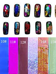1PCS Laser Folien-Nagel-Dekorationen funkelten Starry Aufkleber (150x6x0.1cm, farbig sortiert)