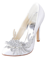 Elegant Satin Stiletto Heel Pumps With Rhinestone Flower Wedding Shoes(More Colors)