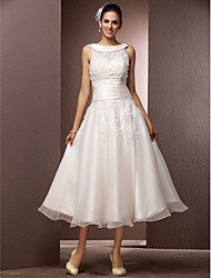 Lan Ting A-line/Princess Plus Sizes Wedding Dress - Ivory Tea-length Bateau Organza