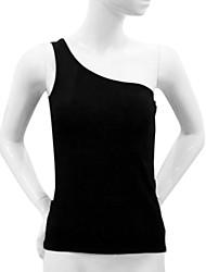 One-spalla senza maniche Tops Yoga Nero