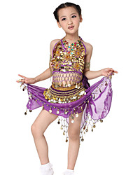 Dancewear Chiffon Flannel with Coins Belly Dance Outfits Top and Belt and Skirt For Children More Colors