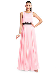Una línea de joya de cuello piso longitud gasa vestido de fiesta con el cristal de ts couture ®