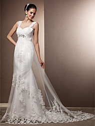 Lan Ting Sheath/Column Plus Sizes Wedding Dress - Ivory Court Train Straps Tulle