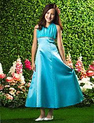 Ankle-length Chiffon / Satin Junior Bridesmaid Dress A-line / Princess Halter Empire with Beading