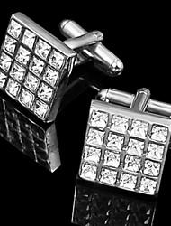 regalo padrino de gemelos de plata cuadrados con diamantes de imitación