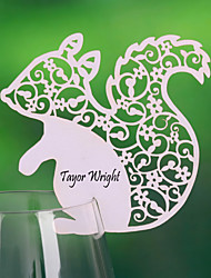 Place Cards and Holders Cute Squirrel Shaped Place Card For Wine Glass Card (Set of 12)
