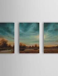 Peint à la main Paysage / Paysages Abstraits Trois Panneaux Toile Peinture à l'huile Hang-peint For Décoration d'intérieur