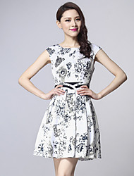 Women's Round Dresses , Cotton/Polyester Casual/Work Short Sleeve ZIMMUR