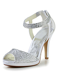Charming Satin Stiletto Heel Sandals with Rhinestone and Zipper Wedding Shoes(More Colors)