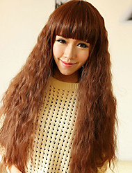 Capless Cute Long Curly High Quality Synthetic Light Golden Brown Full Bang Hair Wig