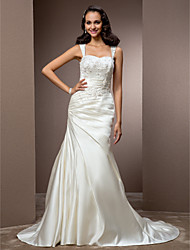 LAN TING BRIDE Trumpet / Mermaid Wedding Dress - Classic & Timeless Elegant & Luxurious Vintage Inspired Court Train Square Satin with