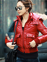LEWEN Red  Casual Short Coat With The Fur Collar