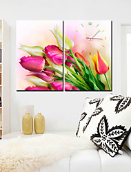 Modern Style Rose Floral Wall Clock in Canvas 2pcs