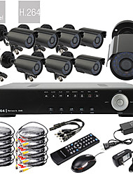 8CH D1 em tempo real H.264 600TVL High Definition CCTV DVR Kit (8pcs impermeável da noite do dia Câmeras CMOS)