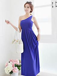 De las mujeres Corte Swing Vestido Para Trabajo / Casual Un Color Maxi Un Hombro Algodón