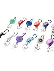 Carabiner Clip Keychain with Retractable Nylon Strap (Random Color)