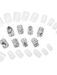 24Pcs White Transparent Glitter Power Short Rhinestone Studded Nail Tips With Glue