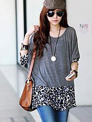 Tallas leopardo oscilación empalme de las mujeres T-shirts