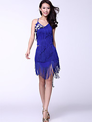 Latin Dance Dresses Women's Training Chinlon Coins / Tassel(s) Natural